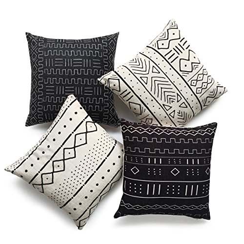 "Hofdeco African Mudcloth Pillow Cover ONLY, Black Light Cream, 18""x18"", Set of 4"
