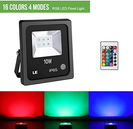 IP65 Waterproof with 16 Colors /& 4 Modes Outdoor Color Changing Floodlight with Remote Control 10W RGB LED Flood Lights