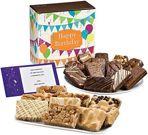 Fairytale Brownies Birthday Bar & Sprite Combo Gourmet Food Gift Basket Chocolate Box - 3 Inch x 1.5 Inch Snack-Size Brownies and 3 Inch x 2 Inch Blondie Bars - 21 Pieces (Gourmet Snack Combo)
