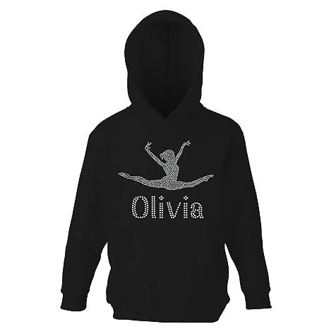 Black 5-6 Girl s Crystallized Personalised Gymnastics Hoodie Dance Leotard  Childrens Hoody(K) 0e8d085c3