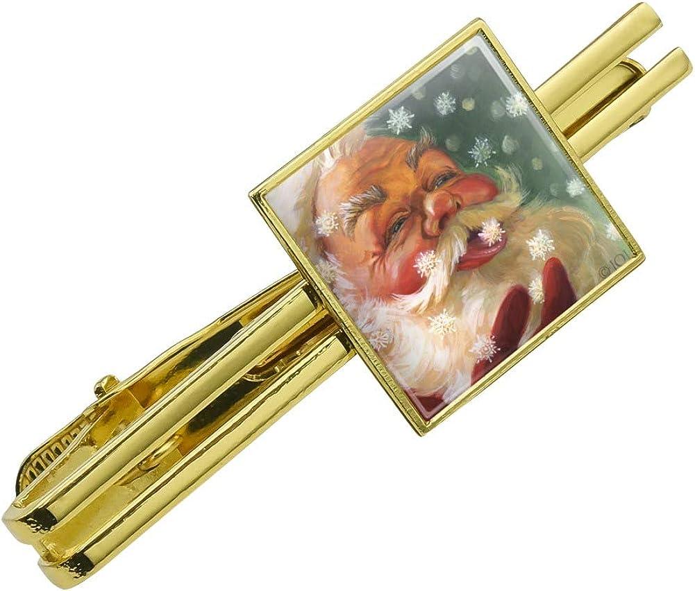 Silver or Gold GRAPHICS /& MORE Christmas Holiday Santa Claus Tasting Snowflakes Square Tie Bar Clip Clasp Tack