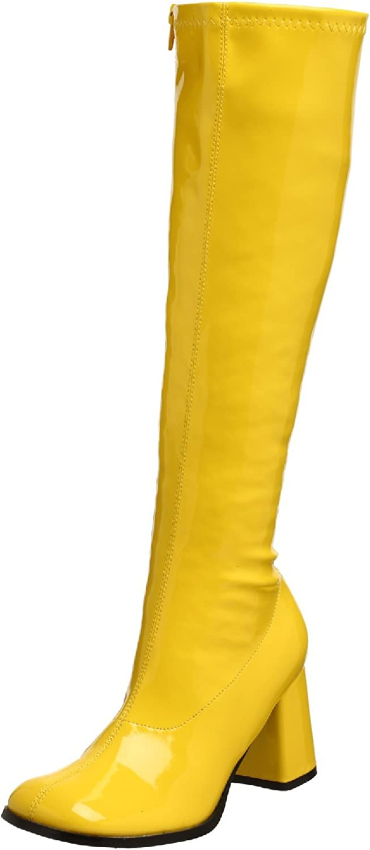 Inch Block Heel Gogo Boots (Yellow