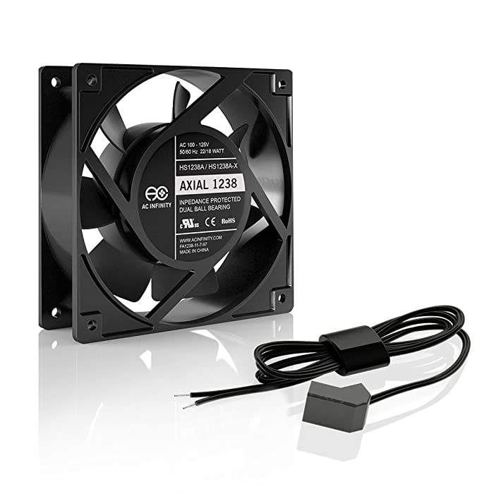 AC Infinity AXIAL 1238W, Muffin Fan, 115V 120V AC 120mm x 38mm High Speed, for DIY Cooling Ventilation Exhaust Projects