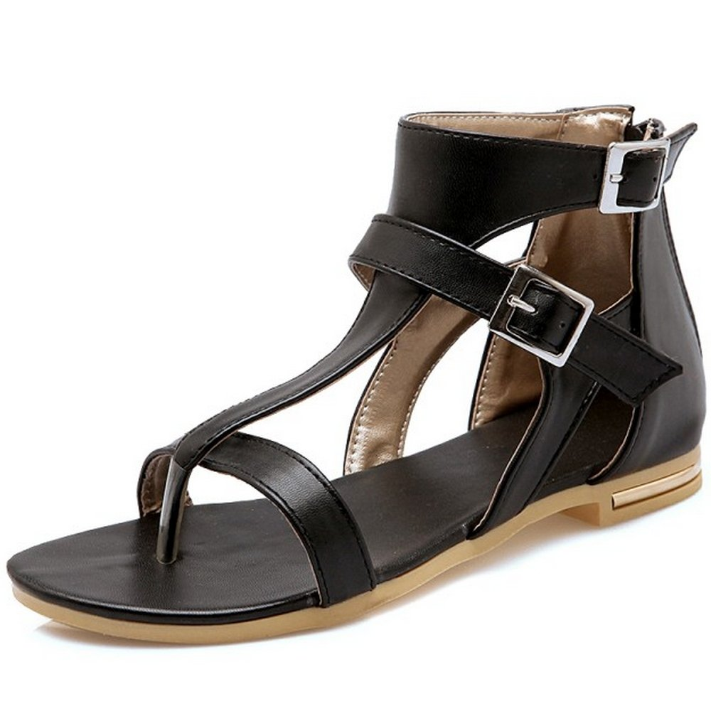 LongFengMa Women's Fashion Ankle Strap Zipper Flat Sandals Shoes B073NLLRKV 8 B(M) US|Black