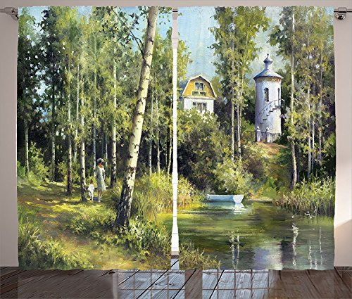 [Apartment Decor Curtains Rural Scenery with An Old Ancient House Lake and Retro Tower Countryside Village Picture Living Room Bedroom Decor 2 Panel Set Green,Size:2 x 54