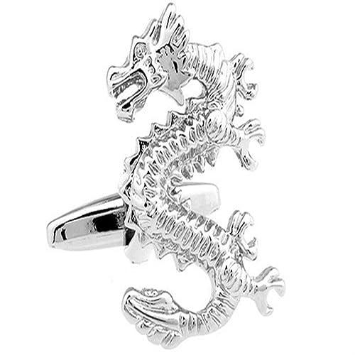 Dragón De La Suerte Chino Asia Gemelos De Pie Caja Y Limpiador