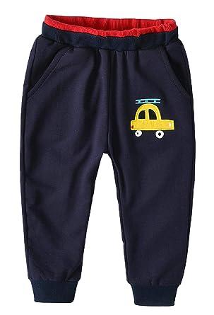 ccbb85d3129166 GEMVIE Pantalon de Sport Enfant Bébé Garçon Coton Souple Motif Voiture  Vêtement Jogging Taille Élastique Automne