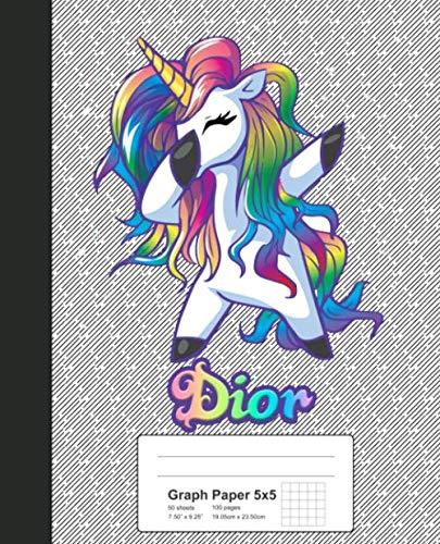 Graph Paper 5x5: DIOR Unicorn Rainbow Notebook (Weezag Graph Paper 5x5 Notebook)