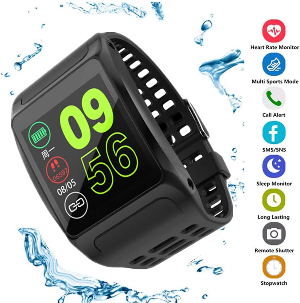 Fitness Tracker, Activity Tracker Fitness Watch with Sleep Monitor, Heart Rate Blood Pressure Monitor, IP68 Waterproof Pedometer Watch Men Black