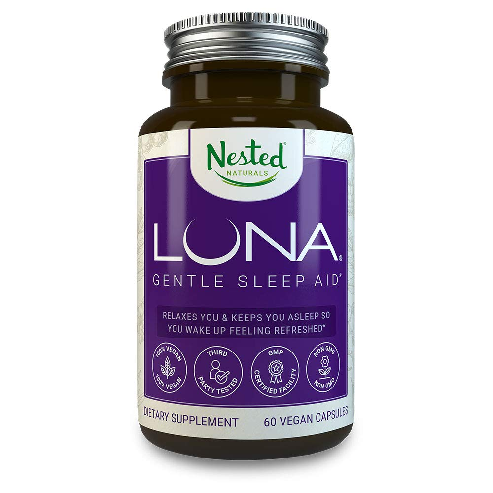 Luna | #1 Sleep Aid on Amazon | Naturally Sourced Ingredients | 60 Non-Habit Forming Vegan Capsules | Herbal Supplement with Melatonin, Valerian Root, Chamomile | Sleeping Pills for Adults by Nested Naturals