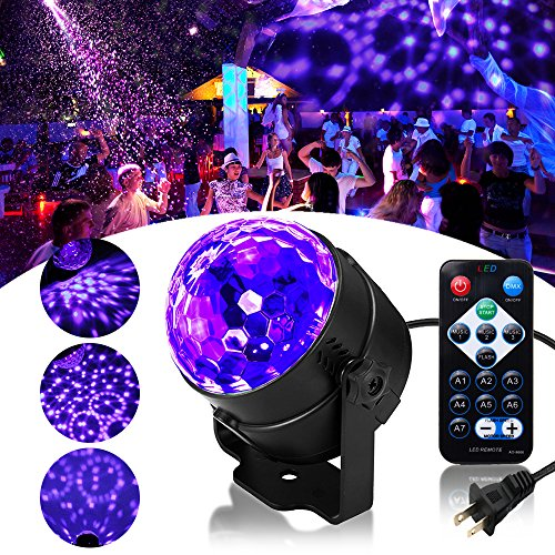 SOLMORE LED UV Black Light 3W Disco Ball Party Lights DJ Lights Sound Activated Strobe Light Stage Lighting for House Party Nightclub Karaoke Dance Wedding Ballroom Halloween Event(with Remote)