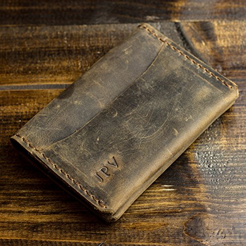 Pegai Personalized Modern Minimalist Credit Card Wallet  Distressed Leather Bifold Card Wallet   Champaign   Antique Brown
