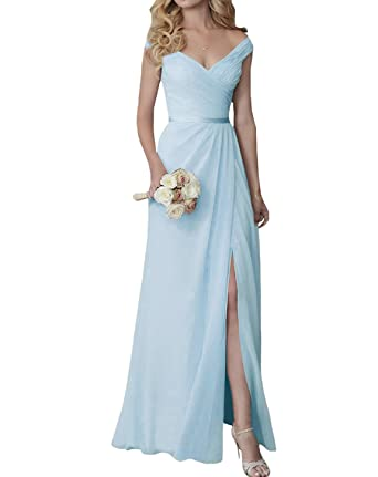 d1ee07c8aa39 CongYunGe Elegant Off Shoulder Prom Dresses Long Bridesmaid Dress with Slit  Blue US 2