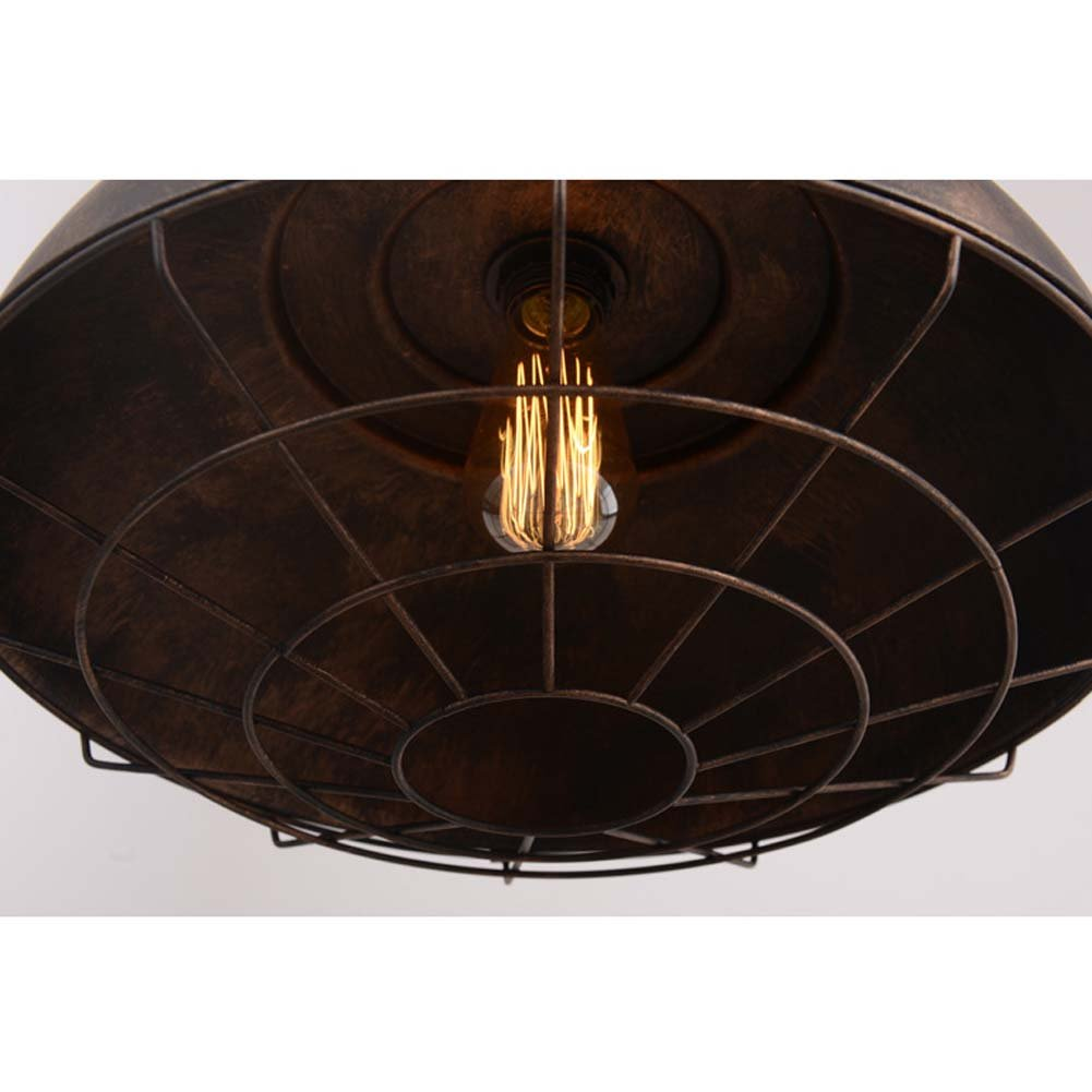 Neo-Industrial Nautical Barn Cage Pendant Light - LITFAD 16'' Single Pendant Lamp with Rustic Dome/Bowl Shape Mounted Fixture Ceiling Light Chandelier in Copper by LITFAD (Image #3)