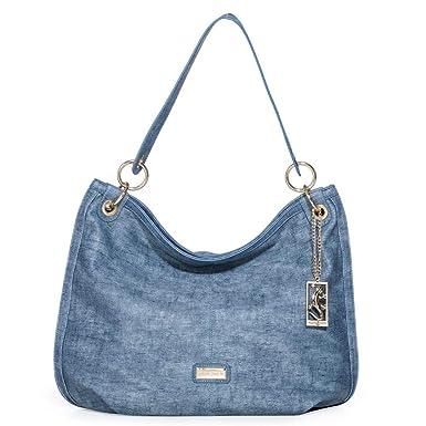 84454e3fe Bolsa Fellipe Krein Grande Estampada Azul Jeans Azul Jeans: Amazon ...