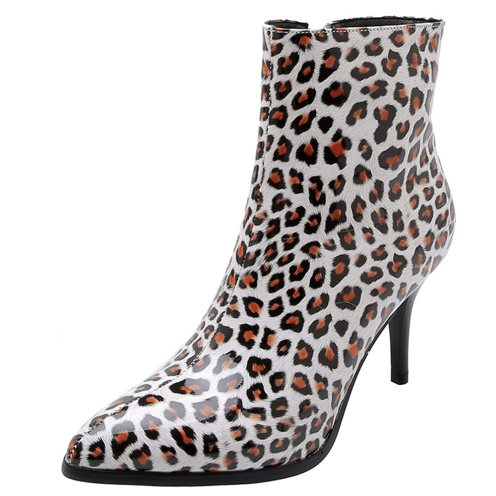 HOSOME Women's Patent Leopard Boots Middle-Heeled Ankle Zipper Casual Boots Shoes White by HOSOME Women Shoes