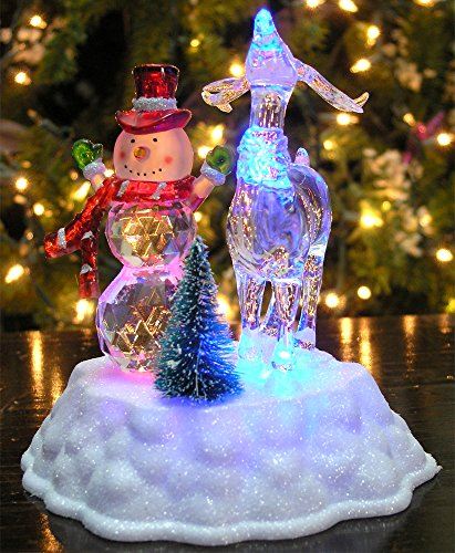 Snowman Christmas Decoration - LED Light Up Snowman and Reindeer Figurine Acrylic Holiday