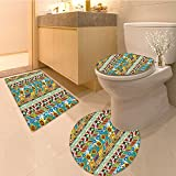 3 Piece Anti-slip mat setStriped Colorfu Summer Spring Retro Patchwork Style Pattern Suns Butterflies Strawber Non Slip Bathroom Rugs