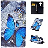 LG V10 Wallet Leather Case,Topratesell Wallet Folio Leather Flip Case Cover with Credit Card Id Pocket for LG V10 / LG G4 Pro (Blue Butterfly Pattern)