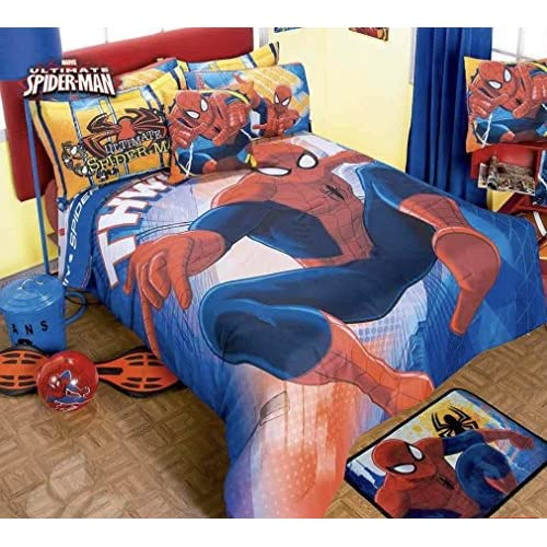 Cheap JORGE'S HOME FASHION INC LIMITED EDITION SPIDERMAN KIDS BOYS COMFORTER SET AND SHEET SET 5 PCS TWIN SIZE