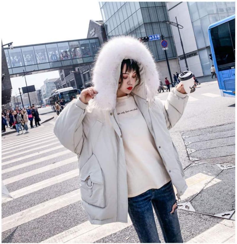 HSDFKD Invernale Donna Cappotto in Cotone con Calda Addensare Cotone Outwear Pane Corto da Donna bianco crema