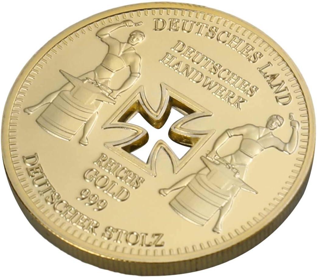 Monedas conmemorativas Amosfun Alemania Banco Imperial alemán chapado en oro Cruz Eagle Challenges Moneda coleccionables: Amazon.es: Hogar