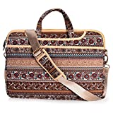 JBonest 14.1 Inch Bohemian Canvas Fabric Sleeve Lightweight Laptop Shoulder Case Messenger Bag for 13-13.3 Inch Laptop/Notebook/MacBook/Chromebook/Computers with Shoulder Strap Handle and Pockets