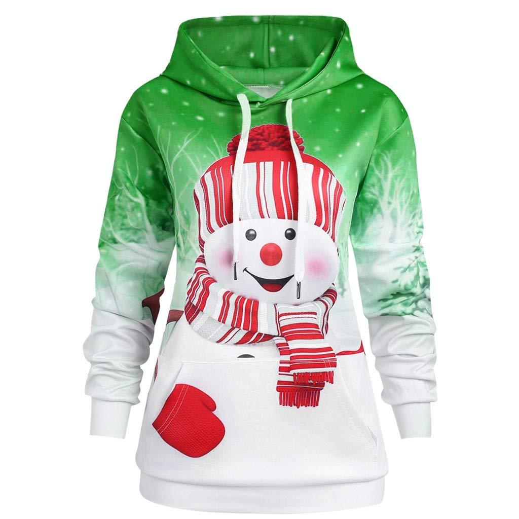 Christmas Women Hoodie Shirts Xmas Cartoon Snowman Print Hooded Sweatshirt Pullover Top Blouse Big Pocket Plus Size S-5XL (X-Large, Green) by Aritone