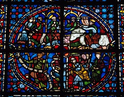 Posterazzi France Upper Normandy Rouen Cathedral Clement of Chartres Stained Glass Poster Print (18 x 24)