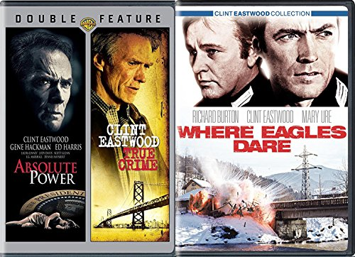 3 Films of Clint Eastwood Where Eagles Dare + Absolute Power & True Crime Movie Collection Film Triple Feature pack
