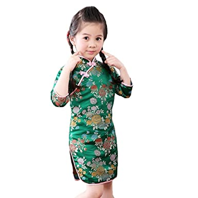 df38aedf4 Amazon.com: Hooyi Foral Baby Girl Qipao Three-Quarter Sleeve Chinese  Tradition Cheongsam Children Clothes: Clothing