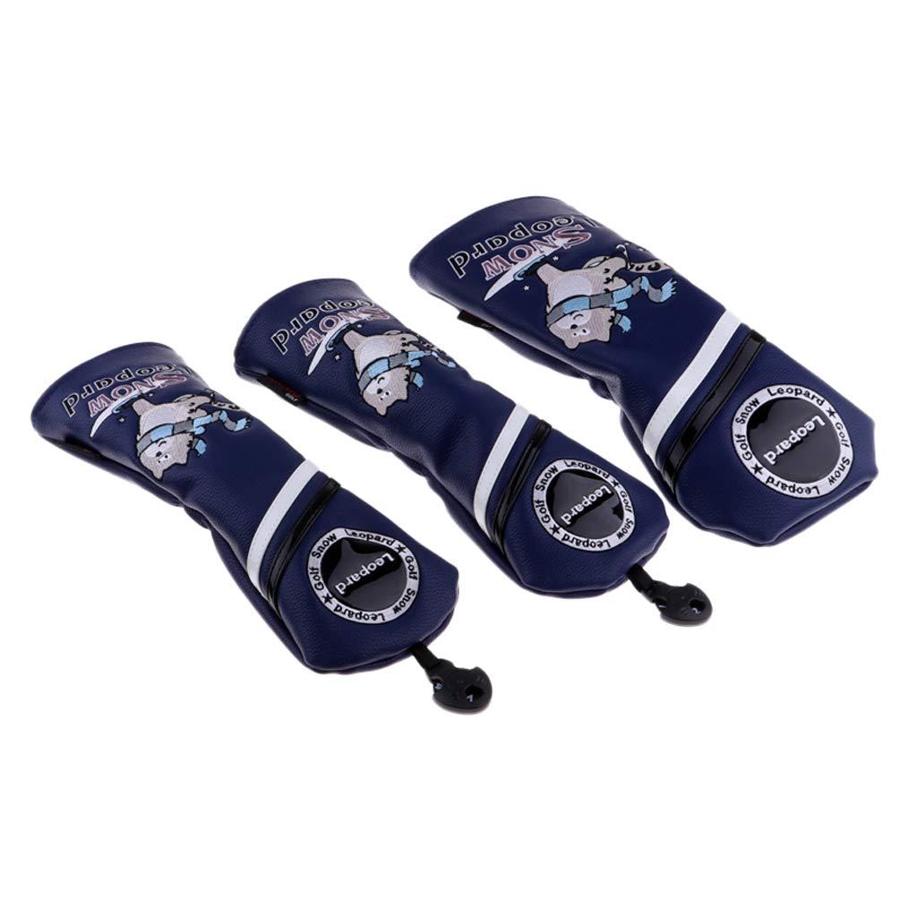 perfk Wear Resistantゴルフクラブヘッドカバー#1#3#5 UTドライバーウッドプロテクター交換可能&調整可能No.タグ付き - ダークブルー、3個1 3 5   B07MW64W3P