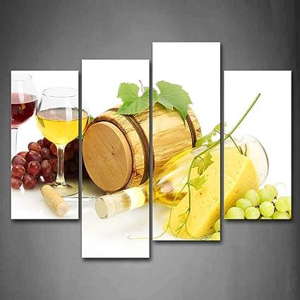Primera Wall Art - Diversas fotos de uva vino con queso pared arte ...
