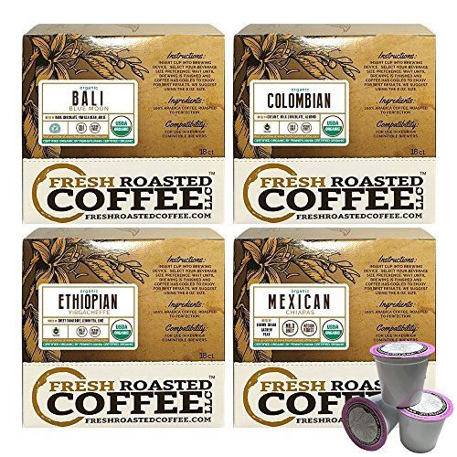 USDA Organic Single Origin Variety Pack Single-Serve Cups, 72 ct. of Single Serve Capsules for Keurig K-Cup Brewers, Fresh Roasted Coffee LLC.