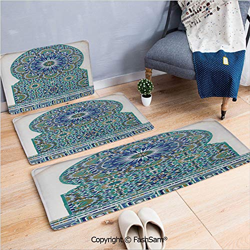 - FashSam 3 Piece Flannel Doormat Ceramic Tile with Ancient East Pattern Decorative Tracery Heritage Architecture for Kitchen Rugs Carpet(W15.7xL23.6 by W19.6xL31.5 by W19.6xL59)