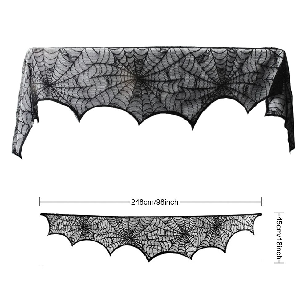 Halloween Party Decorations, TONBUX Hanging Spider Web Black Lace Spider Web Table Runner Halloween Party Decor Kitchen Table Cover 18 x 98 inch