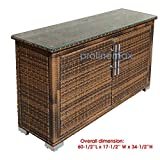 2 Doors ESPRESSO Wicker Rattan Buffet Serving Cabinet Table Towel Storage Counter