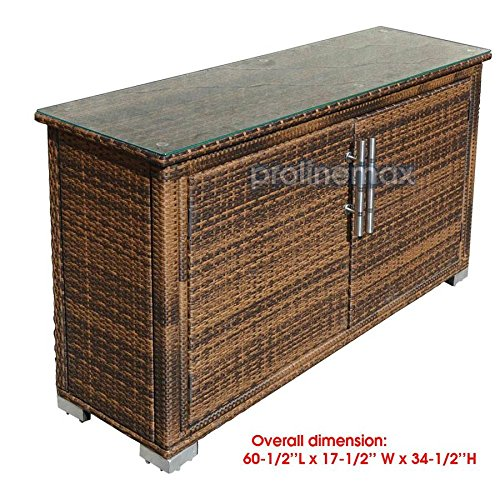 2 Doors ESPRESSO Wicker Rattan Buffet Serving Cabinet Table Towel Storage Counter by Generic