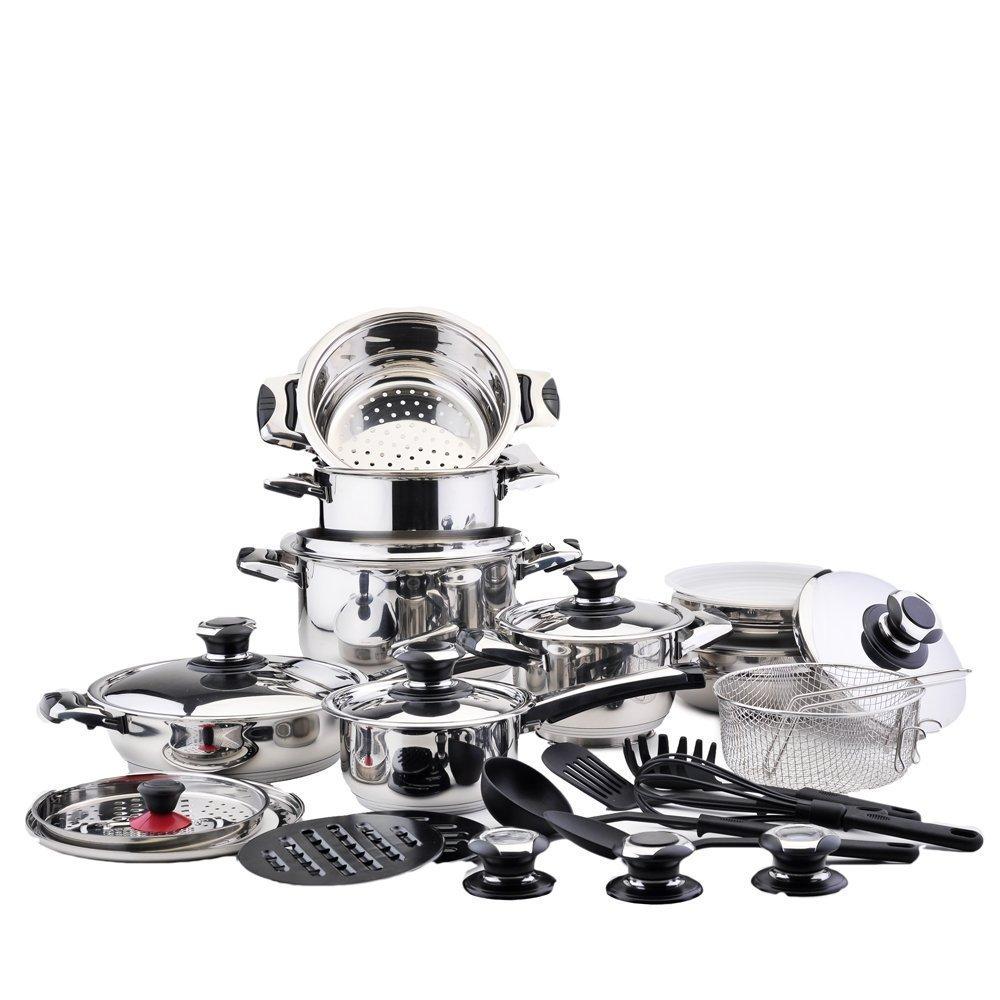 Batería de cocina Completa 30 Piezas Profesional Solingen | Acero Inoxidable CROMADO de MÁXIMA CALIDAD 18/10 | LIQUIDACIÓN ÚLTIMAS UNIDADES HOGAR Y COCINA: ...