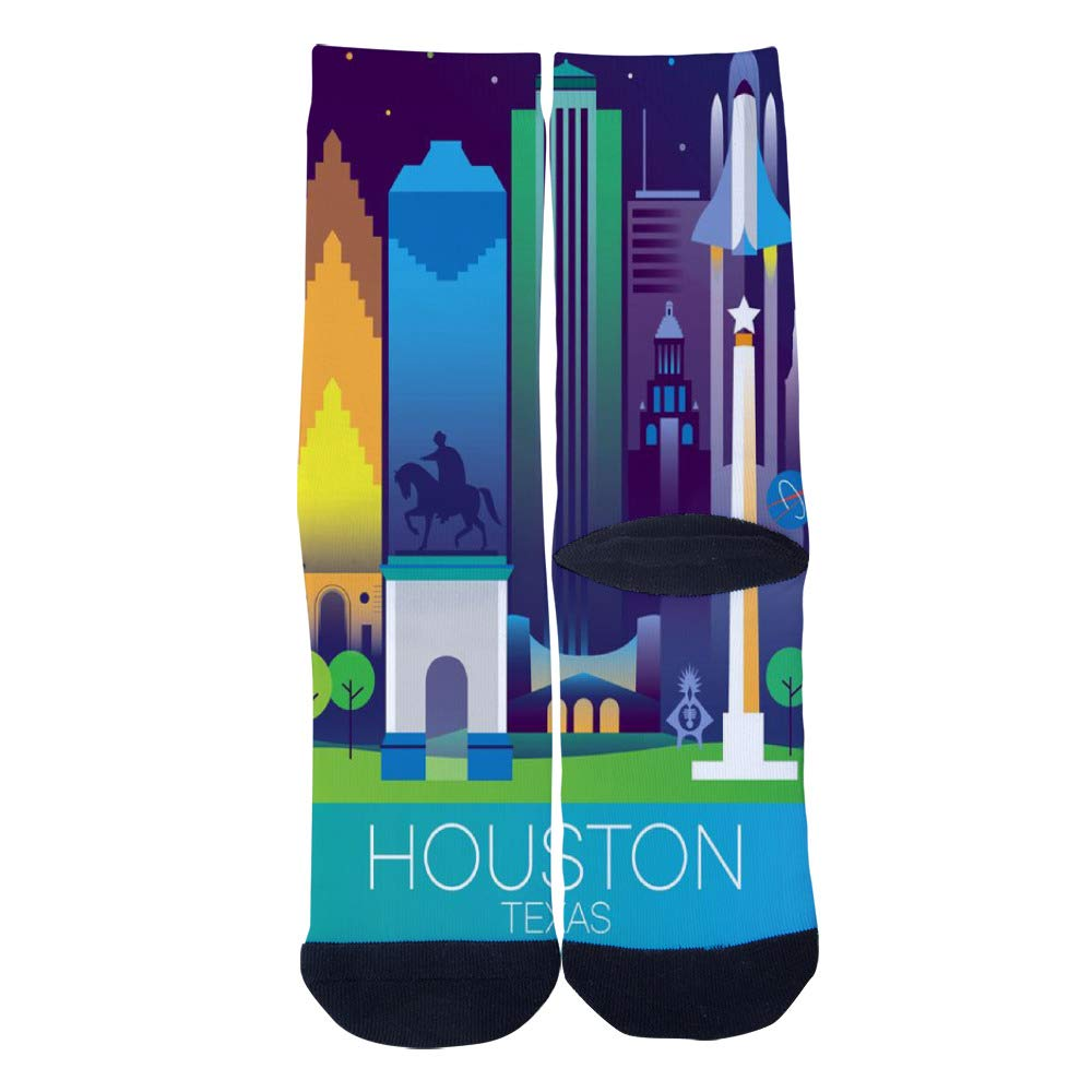 Modern Travel Poster HOUSTON TEXAS Socks Mens Womens Casual Socks Custom Creative Crew Socks