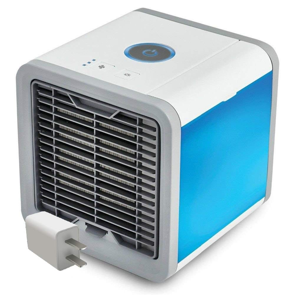 HOLIKE Personal Air Cooler,Portable Mini Air Conditioner Humidifier Desktop Evaporative Cooling Fan with USB Adapter 7 Colors & 3 Speed Modes for Home Bedroom Nightstand Office Desk,As seen on tv