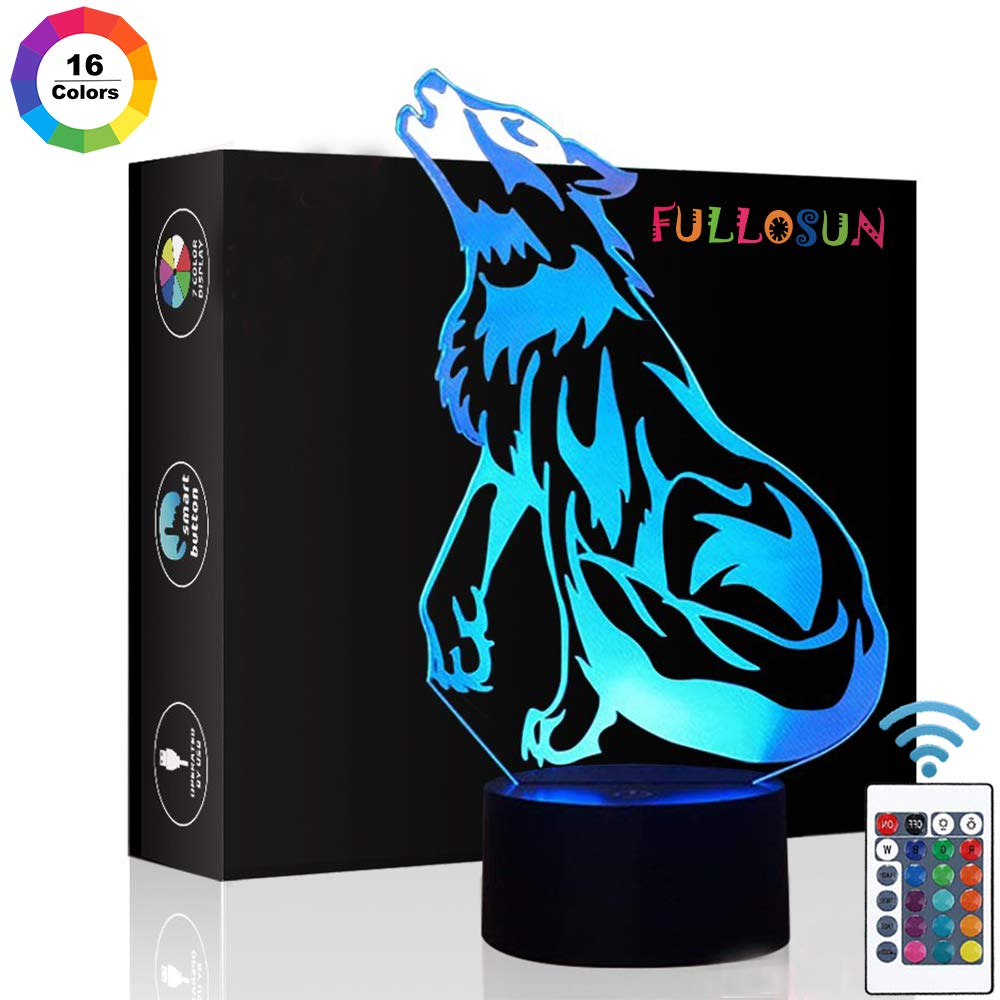 Wolf Gifts, 3D Night Light for Kids Optical Illusion Lamp Co-Sleeping,Remote Controller with 16 Color Changing Ideal Birthday Gifts & for Kids, Boys & Men