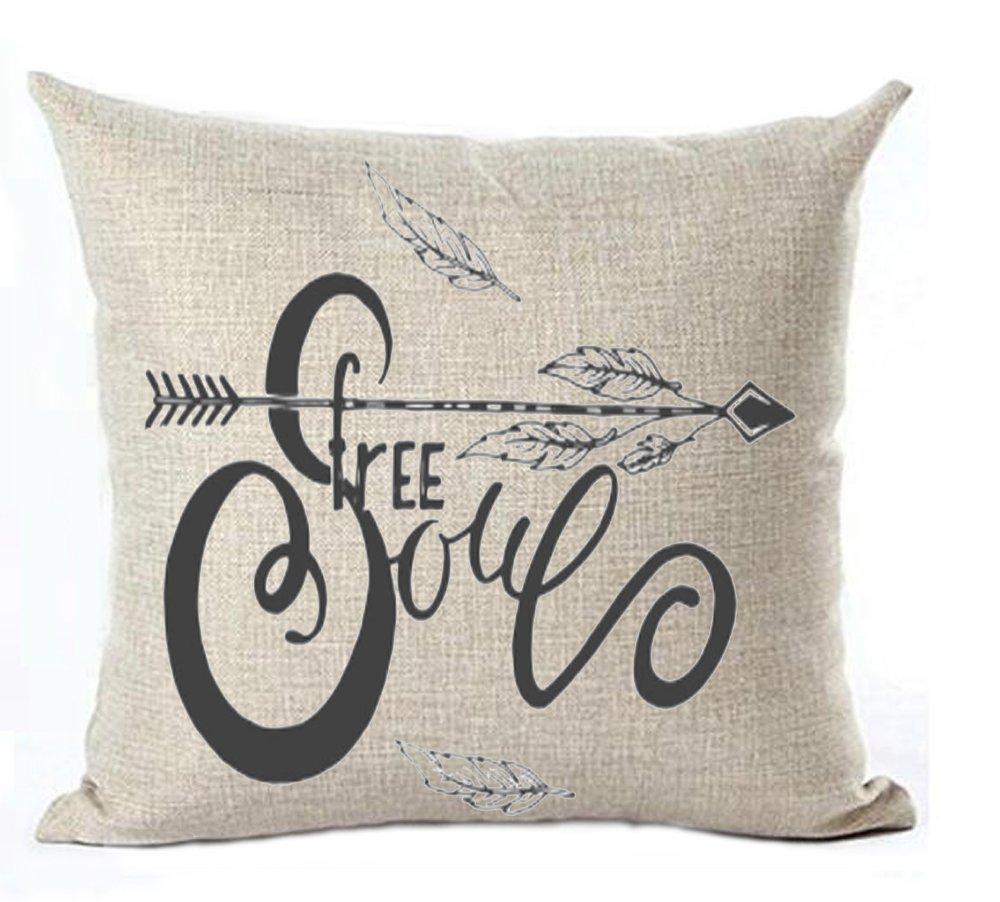 Bnitoam Life - Funda de almohada de lino y algodón, diseño de frases motivadoras, cuadrada, 45,7 x 45,7 cm