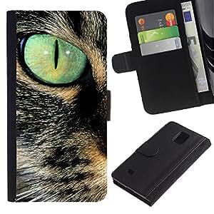 LASTONE PHONE CASE / Lujo Billetera de Cuero Caso del tirón Titular de la tarjeta Flip Carcasa Funda para Samsung Galaxy Note 4 SM-N910 / Savannah Serengeti Somali Cat Eye Teal