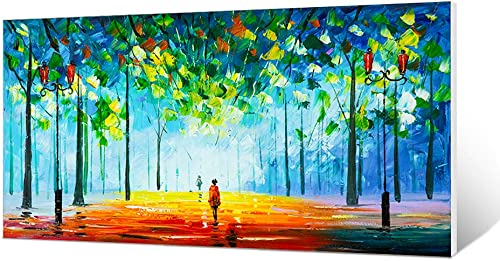 DILALIE 100 Hand Painting -22x44inches Abstract Wall Art, Wall Oil Painting for Living Room Hand-Painted Oil Cityscape Painting,Graffiti Wall Art for Bedroom or Office