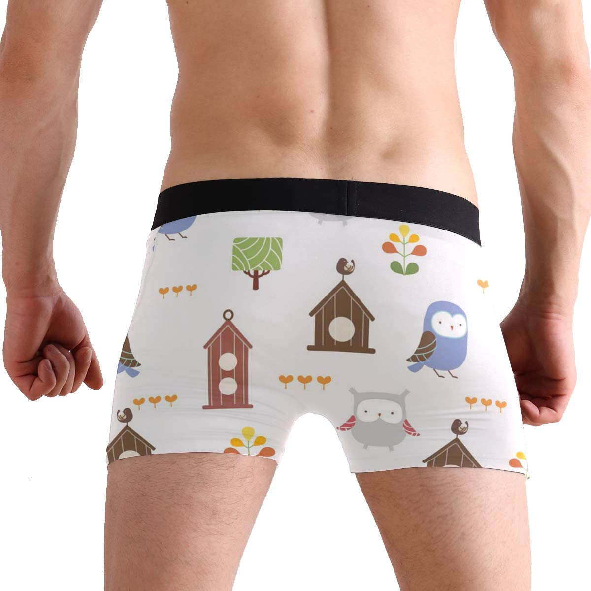 Vipsk Seamless Stretch Mens Polyester Boxer Briefs Underwear 1-Pack Set Cartoon Owl