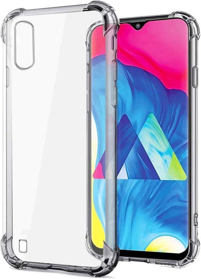 REY - Funda Anti-Shock Gel Transparente para Samsung Galaxy A10, Ultra Fina 0,33mm, Esquinas Reforzadas, Silicona TPU de Alta Resistencia y Flexibilidad