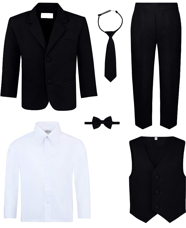 Boy\u0027s 6,Piece Suit Set , Includes Suit Jacket, Dress Pants, Matching Vest,  White Dress Shirt, Neck Tie \u0026 Bow Tie