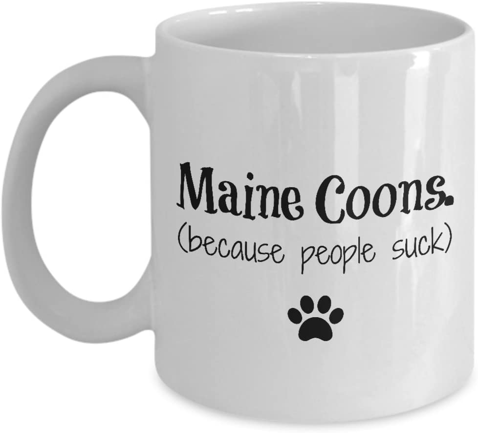 Maine Coon Cat Mug – Because People Suck – Funny Cat Lover Coffee Cup Gift, 11 oz.