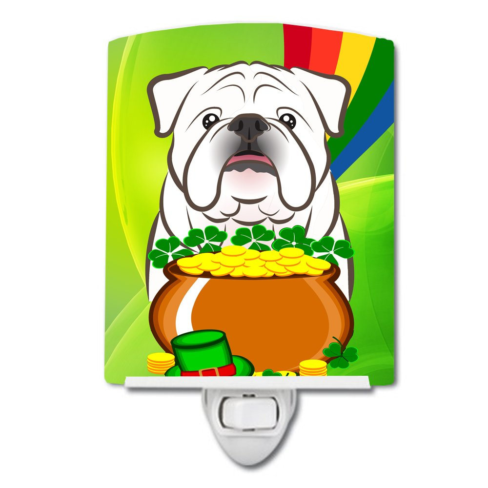 Carolines Treasures White English Bulldog St Patricks Day Ceramic Night Light 6x4 Multicolor